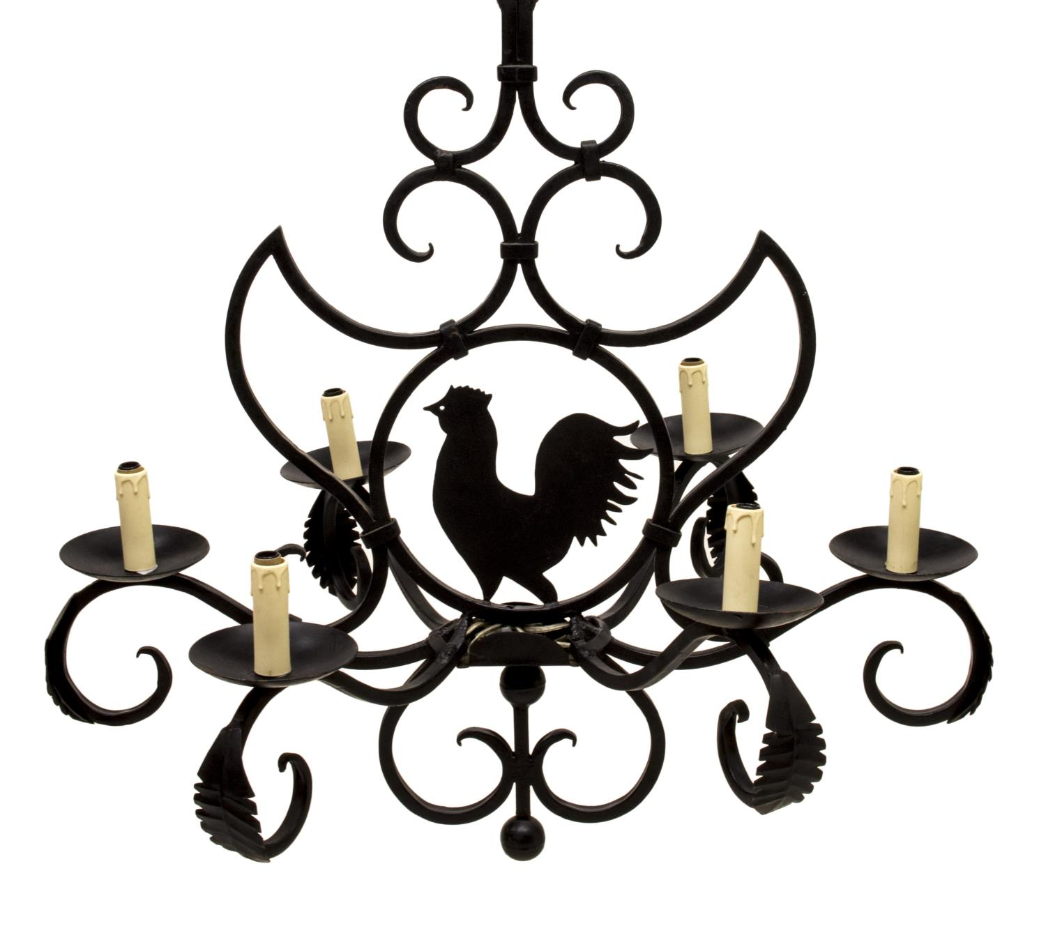 FRENCH COLONIAL IRON ROOSTER 6 LIGHT CHANDELIER Holiday Estates