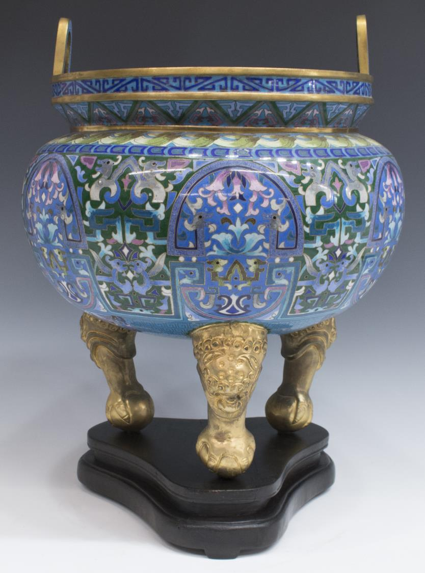 Chinese cloisonne three legged censer w stand the crier for Cloison stand