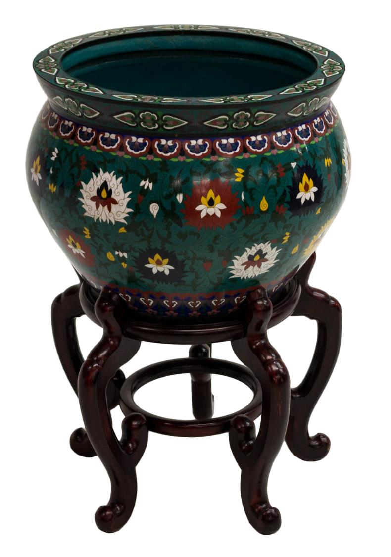 Chinese cloisonne fish bowl and stand the crier estate for Cloison stand