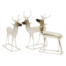 (3) MERCURY GLASS DEER FIGURINES, GERMANY