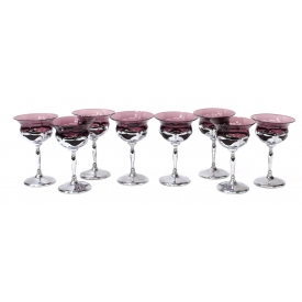 (8) FABER BROS AMETHYST LIQUOR COCKTAIL STEMWARE