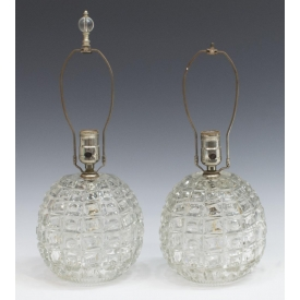 (2) MID-CENTURY GEOMETRIC COLORLESS GLASS LAMPS