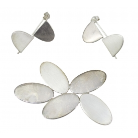 (3) BETTY COOKE MODERNIST STERLING JEWELRY SUITE