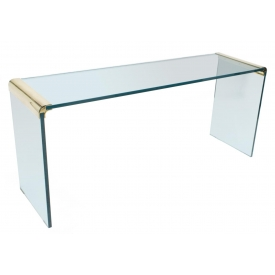 PACE COLLECTION GLASS BRASS CONSOLE, LEON ROSEN