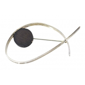 BETTY COOKE MODERNIST SILVER & EBONY BROOCH