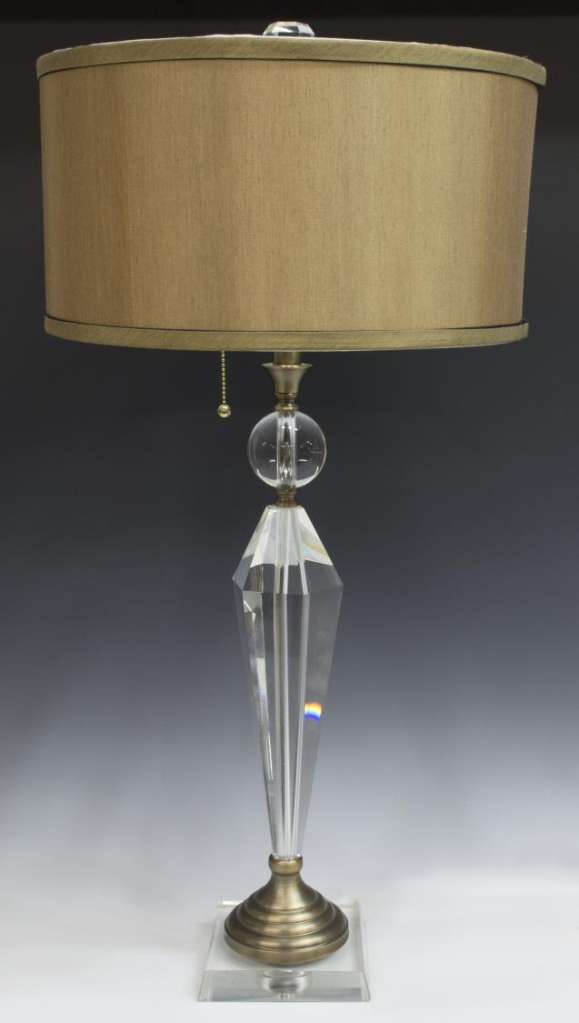 Dale tiffany strada crystal brass table lamp the crier for Table lamps austin tx