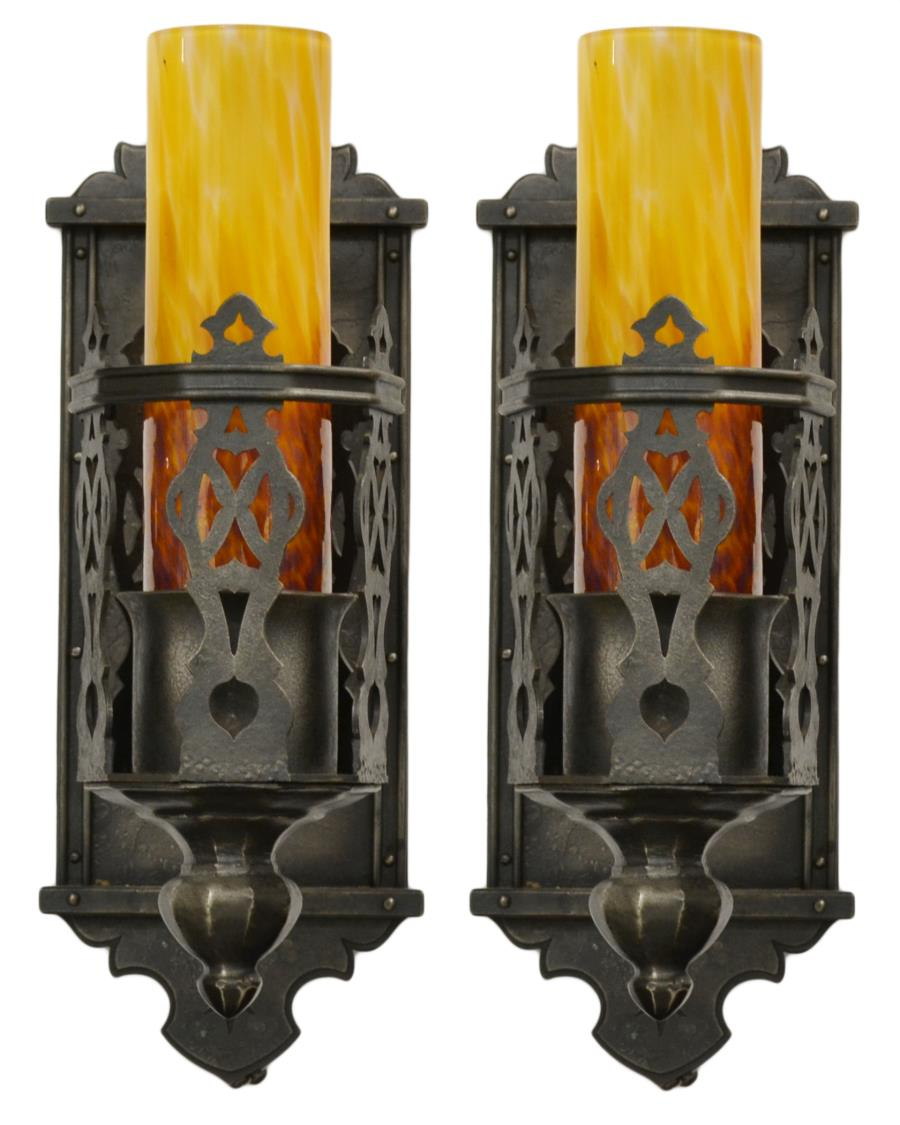 Gothic Style Wall Sconces : (PAIR) GOTHIC STYLE IRON ONE-LIGHT WALL SCONCES - April Two Day Estates Auction - Austin Auction ...