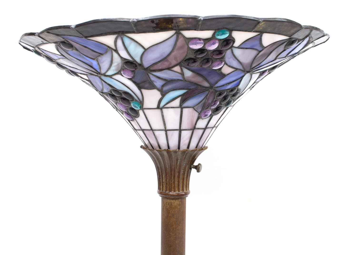 Decorative leaded stained glass floor lamp the crier for Designer glass floor lamp