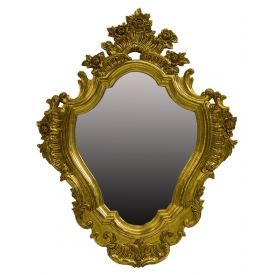 ITALIAN FLORAL SCROLLED GILTWOOD WALL MIRROR