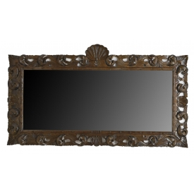 LARGE ITALIAN PIERCE CARVED WALNUT WALL MIRROR