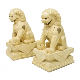 (2)LARGE CHINESE TILED BONE FOO LIONS ON PEDESTALS