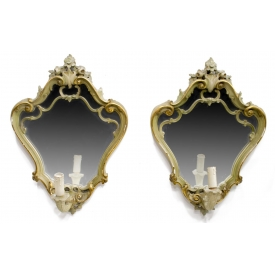 (2) VENETIAN PARCEL GILT MIRRORED 1-LIGHT SCONCES