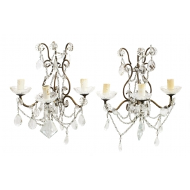 (2) ITALIAN IRON & CRYSTAL PRISM 4-LIGHT SCONCES
