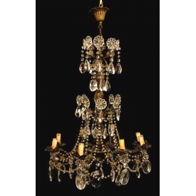 ITALIAN GILT BRASS & CRYSTAL 8-LIGHT CHANDELIER