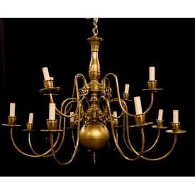 DUTCH STYLE BRASS 12-LIGHT CHANDELIER