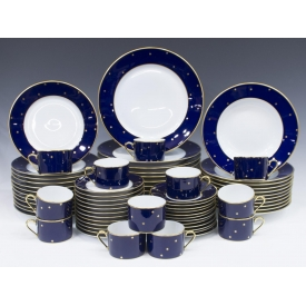 (71) FABERGE GALAXIE COBALT PORCELAIN DINNER SET