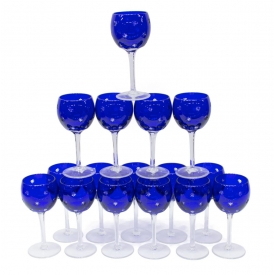 (15) FABERGE COBALT GALAXIE CRYSTAL GOBLETS