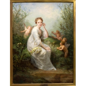 HENRI PICOU (1824-1895), LADY & PUTTI PAINTING