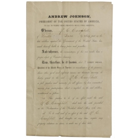 CONFEDERATE PARDON BY PRESIDENT ANDREW JOHNSON