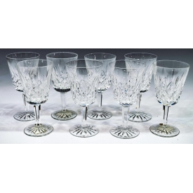 (8) WATERFORD LISMORE CUT CRYSTAL WATER GOBLETS