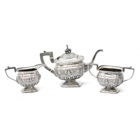 (3) INDIA REPOUSSE FIGURAL SILVER TEASET