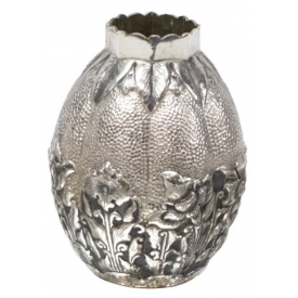 INDONESIAN  .800 SILVER REPOUSSE BUD VASE