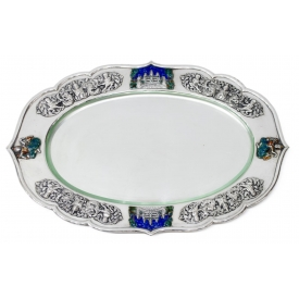 INDONESIAN .900 SILVER REPOUSSE & ENAMEL TRAY
