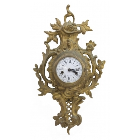 LOUIS XV STYLE GILT BRASS HANGING WALL CLOCK