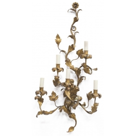 MAISON BAGUES STYLE GILDED FIVE-LIGHT WALL SCONCE