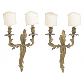 (2)LOUIS XV STYLE GILT BRONZE 2-LIGHT WALL SCONCES