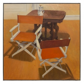 LARGE FRAMED OIL PAINTING, ORANGE CHAIRS, 1981