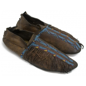 (2) SOUTHERN PLAINS BEADED MOCCASINS, C. 1890-1910