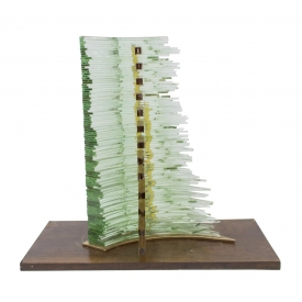 CONTEMPORARY ABSTRACT STACKED GLASS SCULPTURE