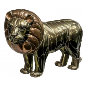 "LARGE COPPER & BRASS LION, SERGIO BUSTAMANTE, 50""W"