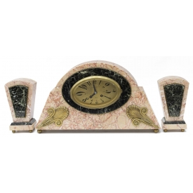 (3) JAPY FRERES VINCENT GAGLIO ART DECO CLOCK SET