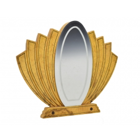 FRENCH ART DECO BIRDS EYE MAPLE FAN FORM MIRROR