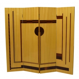 FRENCH ART DECO STYLE INLAID ROOM SCREEN, 20TH C