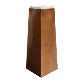CONTEMPORARY COPPER & STONE PEDESTAL
