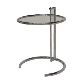MODERN ADJUSTABLE GLASS & CHROME SIDE TABLE