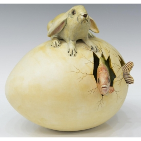 SERGIO BUSTAMANTE CERAMIC EGG, RABBIT & FISH