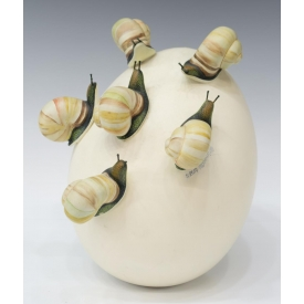 SERGIO BUSTAMANTE CERAMIC EGG SCULPTURE, SNAILS