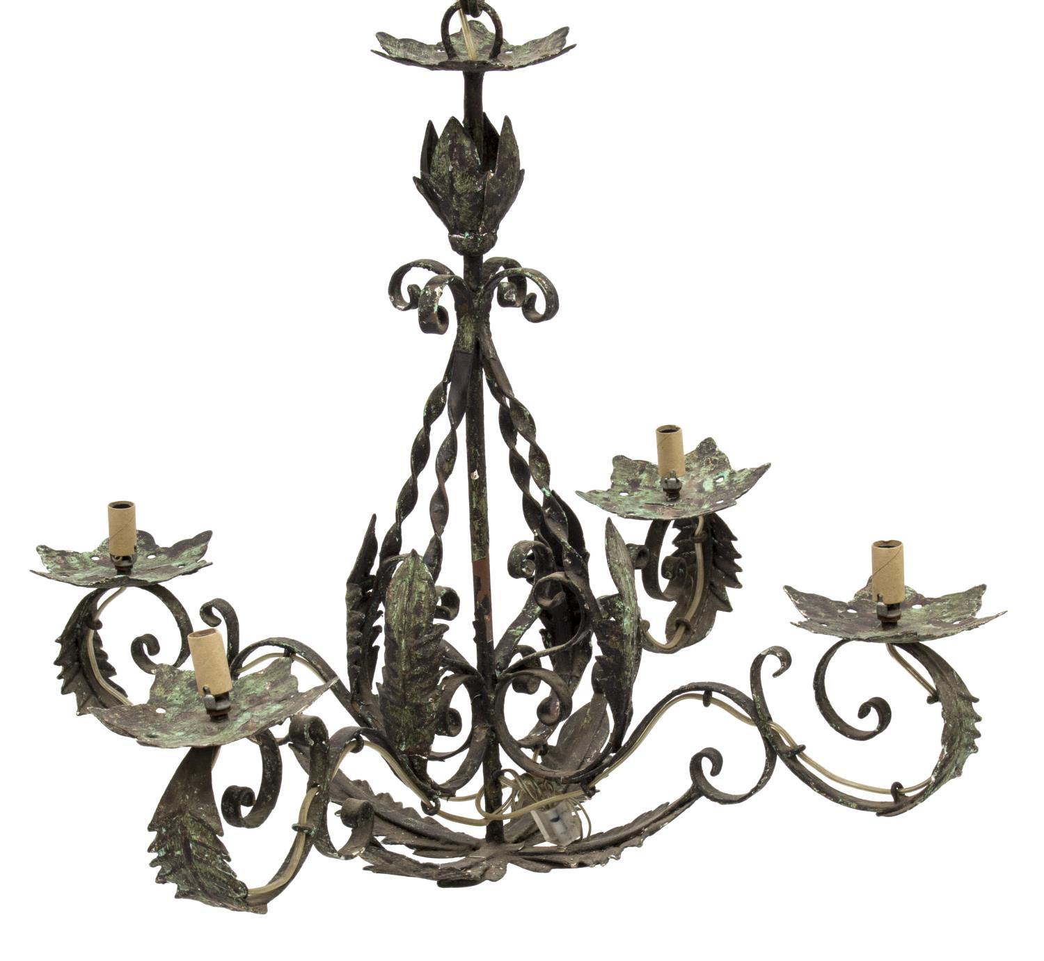 FRENCH WROUGHT IRON 4-LIGHT CHANDELIER