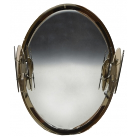 MID-CENTURY MURANO ART GLASS LIGHTED WALL MIRROR