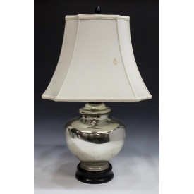 LARGE MERCURY GLASS BALUSTER FORM TABLE LAMP