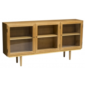 DANISH MID-CENTURY MODERN GLAZED OAK BOOKCASE