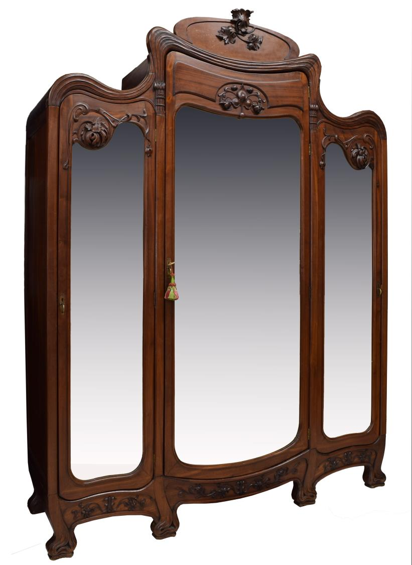 french art nouveau mahogany triple armoire spring estates auction day two austin auction. Black Bedroom Furniture Sets. Home Design Ideas
