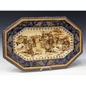 LARGE HB QUIMPER PEASANT & FARM ANIMALS TRAY