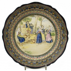 LARGE HB QUIMPER CHARGER, BRETON CHILDREN DANCING