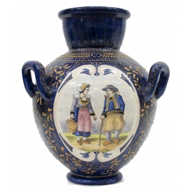 FRENCH FAIENCE QUIMPER POTTERY 3-HANDLED URN