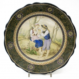 LARGE HB QUIMPER CHARGER, BRETON COURTING COUPLE
